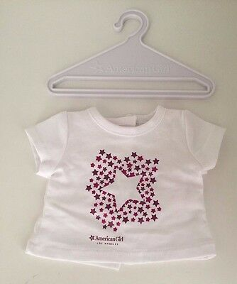 "American Girl Place Los Angeles White with Stars T-Shirt + Hanger for 18"" Doll"