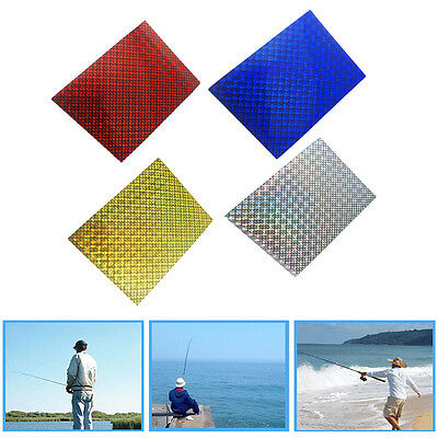 8PCS DIY Fishing Lure Outer Scale Holographic Tape&3D Fish Eyes Waterproof