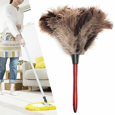 35CM Natural Grey Ostrich Feather Fur Brush Anti-static Duster Wood Handle AC
