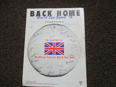 1970 Back Home England World Cup Squad Music Sheet Original Bobby Moore Signed