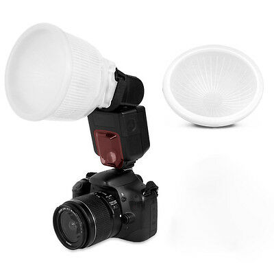 Universal Cloud lambency flash diffuser + dome cover and fits all flashes White