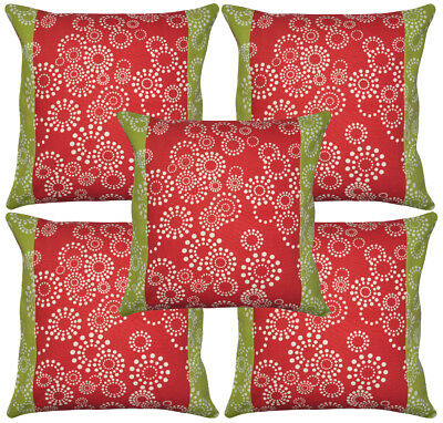 Handmade Indian Cushion Cover Patchwork Floral Print 5 Pcs Throw Gift 16x16""