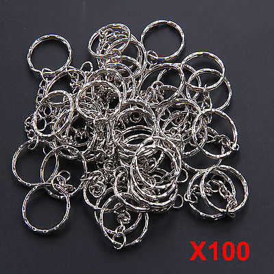 100Pcs Keyring Blanks Key Chains Silver Tone Findings Split Rings