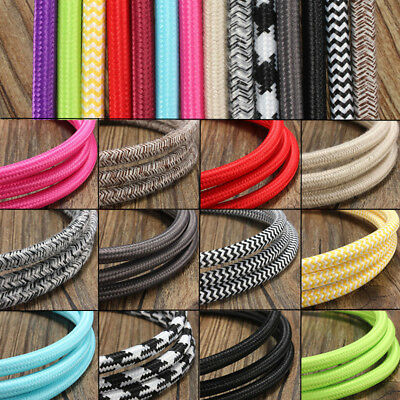 1/2/3/5/10M Vintage Coloured Braided ROUND 2Core Fabric Lighting Flex Cable Cord