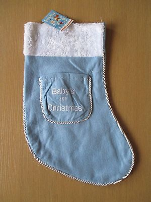 Baby's Blue First Christmas Stocking BNWT