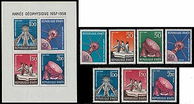 17J_AA004 HAITI 1958  Space, Arctic, Intl. Geophysical Year, Penguins MNH Set