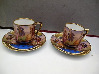 2 Bohemia (Neurohlau) Fine Porcelain Coffee Cup And Saucer - Fragonard