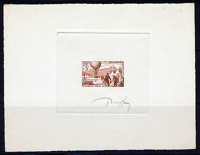 France Brown Artist Signed Proof 1955 Stamp Day Balloon Post Issue Mnh