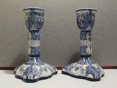 Vintage Pair Of Portuguese Blue And White Candle Sticks - Handpainted -