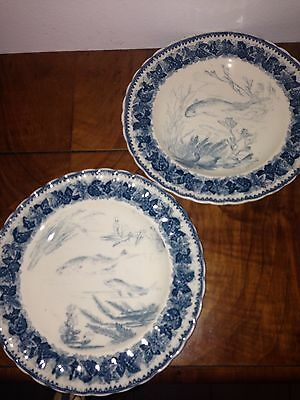 Antique Vintage Glazed Pottery Fish Plates Blue Scalloped Edge KOI Marked Back