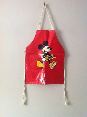 Vintage Mickey Mouse Walt Disney Productions Kid's Oil Cloth PVC Apron Pinny