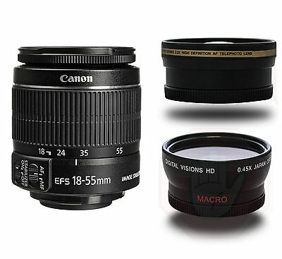 NEW Canon EF-S 18-55mm f/3.5-5.6 IS II + Wide Angle + Telephoto Lens. (3 LENSES)