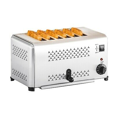 Gastro Toaster Buffet Six Slice Toaster Timer Crumb Tray Timer Stainless Steel