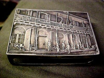 Dutch match box 1889- 1939 silver coloured  metal.50 jaar stokvis Lindeteves.