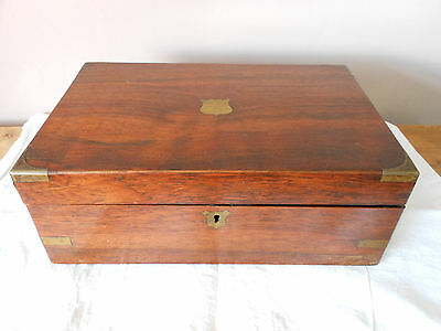 Large Rosewood And Brass Victorian Writing Slope