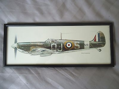 Spitfire Plane East India Squadron Framed Print Keith Broomfield 37 cm x 15 cm