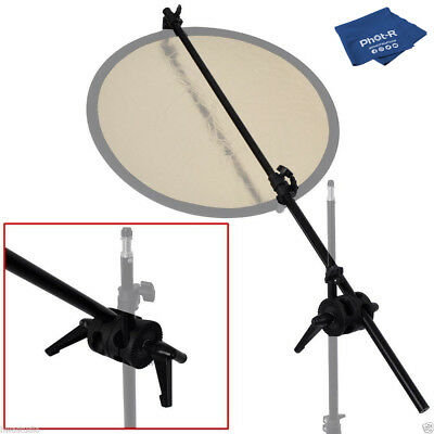 Phot-R 175cm Reflector Holder Double Swivel Head Clamp Bracket Microfibre Cloth
