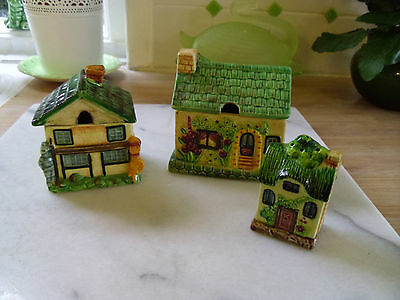 Marutomo Ware Japan 3 Cottages Salt Honey Preserve Pots Cottage