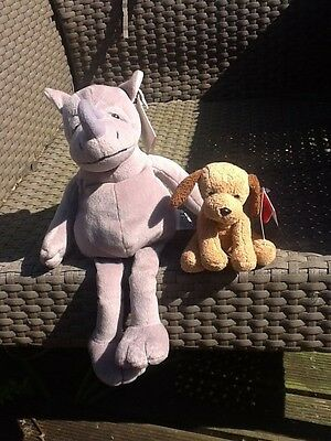 """Russ Grey Rhino 14"""" AND Russ Brown Dog - Soft Toy, Beanie BOTH NEW WITH TAGS"""