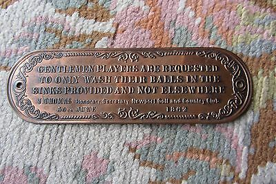 """Golf - Plaque Cuivre """" Newport - Golf And Country Club 30 June 1862"""""""