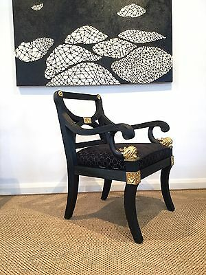 Armchairs  Hollywood Regency Armchairs Gold Leaf Details