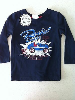 Milky Boys Top Tshirt Long Sleeves Blue Rocket Racer Car Print Size 0 Bnwt