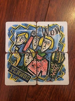 4 Pernod Beer Mats Coaster Job Lot