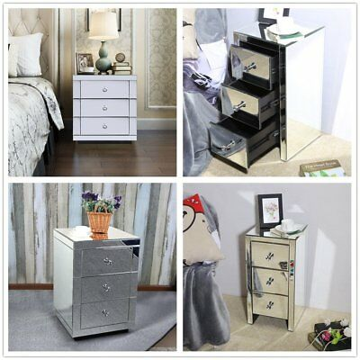 Mirrored Furniture Glass Bedside Cabinet Table W/ 3 Drawer Bedroom Nightstand SA