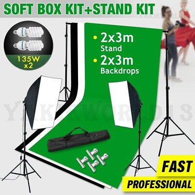 LARGE 2x3m Backdrop Photography Studio Softbox Lighting Soft Box Light Stand Kit