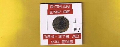 """Ancient Roman Empire coin of """"Valens"""" 364-378 AD... AE3...Nicely silvered!"""