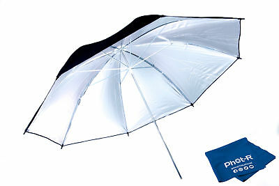 "Phot-R 33"" Black & Silver Studio Reflector Collapsible Umbrella Microfibre Cloth"