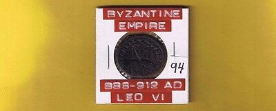 "Ancient Byzantine Empire coin of ""Leo VI"" the Wise... 886-912 AD... AE Follis"
