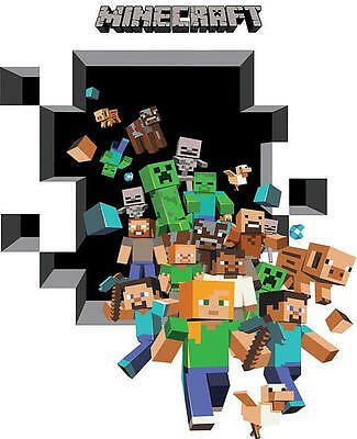 Minecraft Wall Art Sticker Vinyl Bedroom Decal Steve Digging Wallpaper Poster