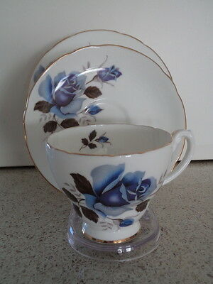 Hammersley - Blue Rose Trio - Cup Saucer Plate Made in England