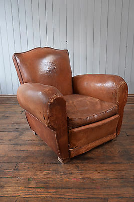 Vintage Antique French Moustashe Leather Club Chair