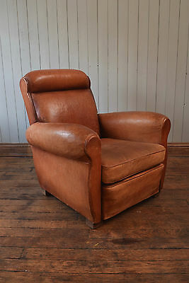 Vintage Antique French Roll Top Leather Club Chair