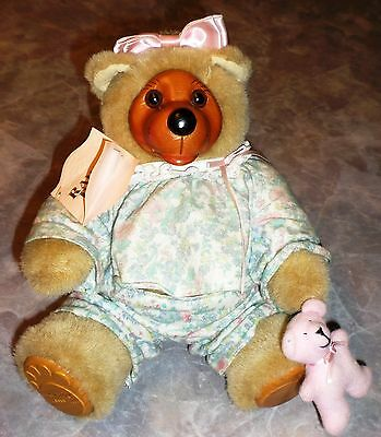Vintage Raikes Teddy Bear Courtney Wood Face Feet Signed Numbered Tag 1990