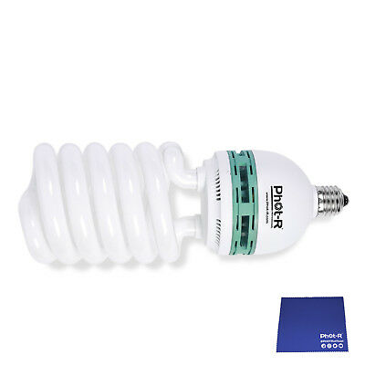 Phot-R 150W 200-240V E27 5500K Spiral Photo Studio Daylight Bulb Chamois Cloth