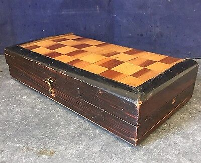 Antique Portable Travel Chess Draughts Board Games Wooden Inlaid Box