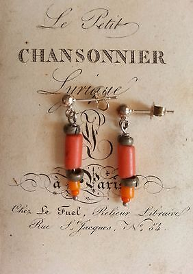 Antique vintage CORAL GLASS BEADS EARRINGS Africa ethnic sand-cast .925 silver