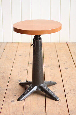 Vintage Industrial Cast Iron Singer Machinists Stool