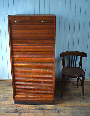 Vintage Antique French Light Oak Large Tambour Front Filing Cabinet