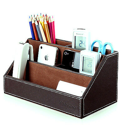 Office Home Desk 5-slot PU Leather Stationery Organizer Pen Pencil Storage Box