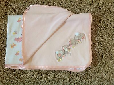 "SPRINGMAID BABY Bunny Rabbit Flowers Pink White Cotton Blanket Lovey 30"" X 34"""