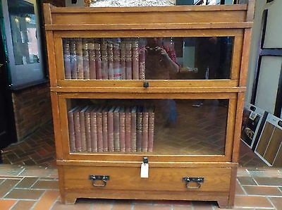 Solid oak, Globe Wernicke style sectional bookcase with drawer