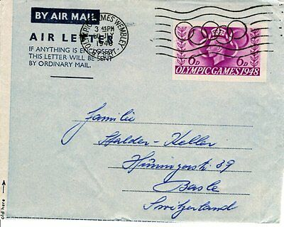 1948 London Olympics Airletter Wembley Olympic Rings cancel 30 July