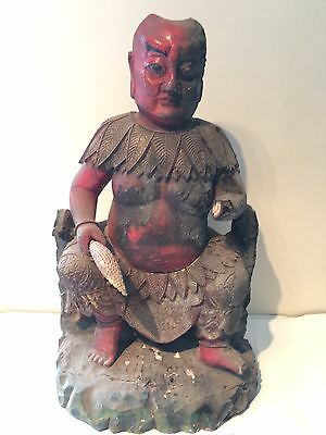 Chinese Oriental Carved Wooden Painted Giltwood Figure Buddha Large Unusual
