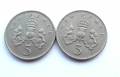 1968 &1969 BRITISH 5p PENCE COINS LARGE NEW PENCE