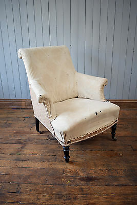 Antique Victorian French Button Back Tub Armchair Chair