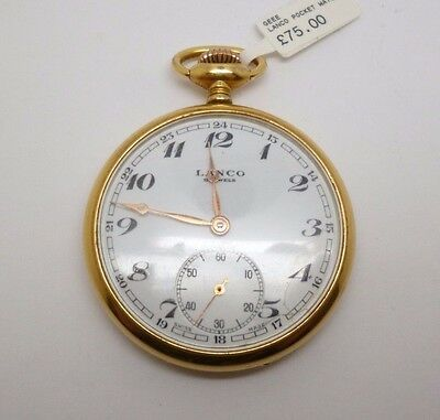 vintage gents LANCO rolled gold pocket watch swiss made working condition
